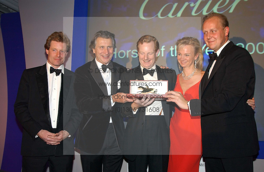 Left to right, the HON.PETER STANLEY, MR ARNAUD BAMBERGER, The EARL &amp; COUNTESS OF DERBY and EDWARD DUNLOP at the 2004 Cartier Racing Awards in association with the Daily Telegraph, held at the Four Seasons Hotel, London on 17th November 2004.<br />