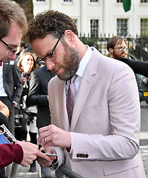 April 25, 2019 - London, London, United Kingdom - Seth Rogen attends premiere of comedy about an unemployed journalist who attempts to pursue his childhood crush and babysitter, who now happens to be one of the most powerful women on earth, at Curzon Mayfair.. Long Shot UK film premiere. (Credit Image: © Nils Jorgensen/i-Images via ZUMA Press)