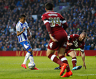 Jesse Lingard of Brighton and Hove Albion scores the opening goal during the Sky Bet Championship play off semi final first leg at the American Express Community Stadium, Brighton and Hove<br /> Picture by David Horn/Focus Images Ltd +44 7545 970036<br /> 08/05/2014
