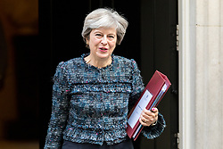 © Licensed to London News Pictures. 13/09/2017. London, UK. British Prime Minister Theresa May leaves No 10 Downing Street this morning to attend Prime Minister's Questions. Photo credit : Tom Nicholson/LNP