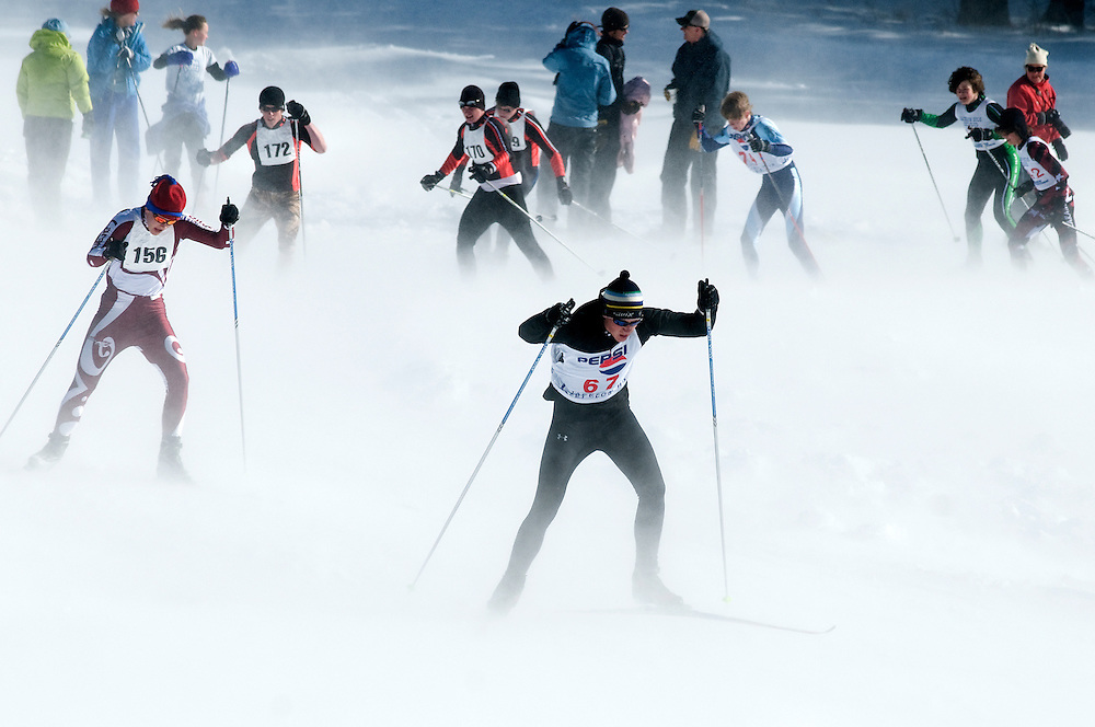 NEWS&GUIDE PHOTO / PRICE CHAMBERS.The wind picks up as skate skiers of all ages round a bend in the course at the Jackson Hole Ski and Snowboard Club's 2010 Moose Chase on Saturday at the Trail Creek Nordic Center.