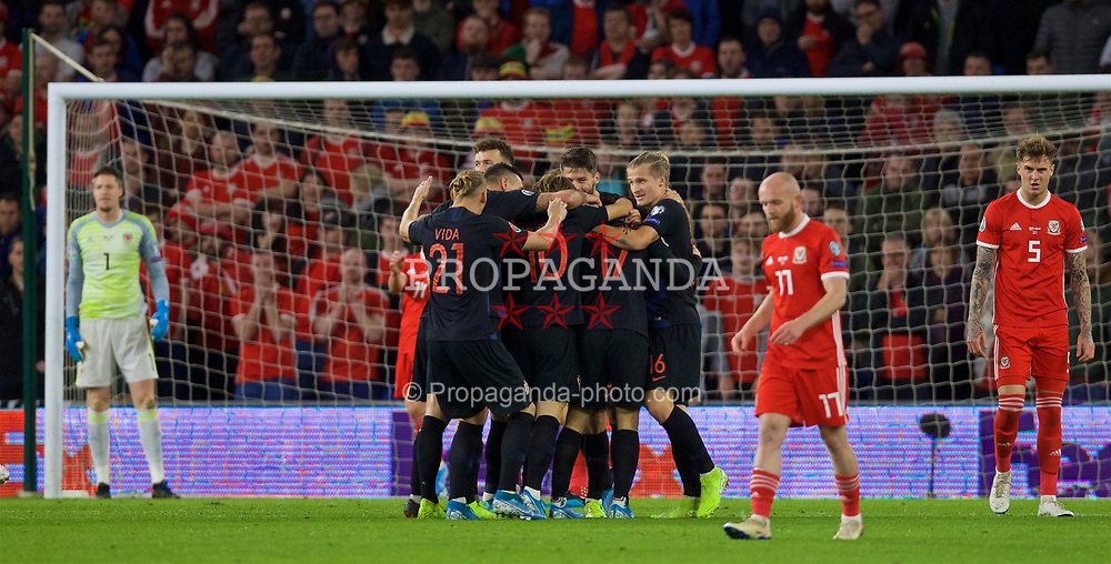 CARDIFF, WALES - Sunday, October 13, 2019: Croatia's Nikola Vlašić celebrates scoring his teams first goal during the UEFA Euro 2020 Qualifying Group E match between Wales and Croatia at the Cardiff City Stadium. (Pic by Laura Malkin/Propaganda)