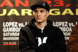 Jan 21, 2010; New York, NY; USA; Steven Luevano speaks at the press conference for the upcoming fight between WBO Champion Steven Luevano and challenger Juan Manuel Lopez.  The two will meet on Saturday at the Theater at Madison Square Garden.