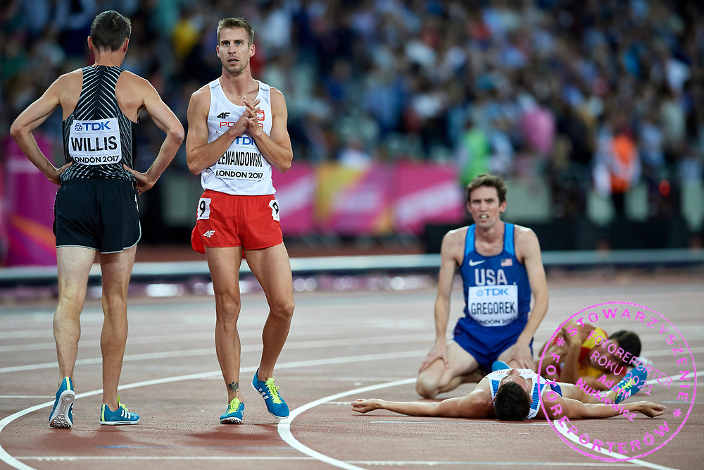 Great Britain, London - 2017 August 13: Marcin Lewandowski (CWZS Zawisza Bydgoszcz) of Poland looks at scoreboard after his performance in men's 1500 meters final during IAAF World Championships London 2017 Day 10 at London Stadium on August 13, 2017 in London, Great Britain.<br /> <br /> Mandatory credit:<br /> Photo by © Adam Nurkiewicz<br /> <br /> Adam Nurkiewicz declares that he has no rights to the image of people at the photographs of his authorship.<br /> <br /> Picture also available in RAW (NEF) or TIFF format on special request.<br /> <br /> Any editorial, commercial or promotional use requires written permission from the author of image.