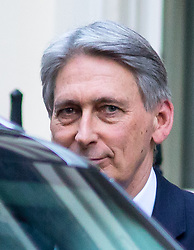 © Licensed to London News Pictures. 16/01/2018. London, UK. Chancellor of the Exchequer Philip Hammond leaving Downing Street after attending a Cabinet meeting this morning. Photo credit : Tom Nicholson/LNP