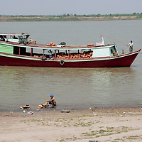 Myanmar (Burma). Bagan. River Irrawaddy with a boat laden with clay pots