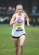 Dec 2, 2017; Portland, OR, USA; Kelsey Chmiel (201) of Kinetic places second in the girls' race in 17:25 during the 2017 Nike Cross Nationals at Glendoveer Golf Course.