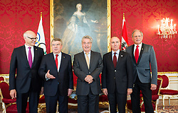 03.06.2015, Präsidentschaftskanzlei, Wien, AUT, Besuch des Präsidenten des Internationalen Olympischen Komitees bei Bundespräsident Fischer, im Bild v.l.n.r. ÖOC Präsident Karl Stoss, IOC Präsident Thomas Bach Bundespraesident von Österreich Heinz Fischer, Bundesminister für Landesverteidigung und Sport Gerald Klug (SPÖ) und ÖOC Generalsekretär Peter Mennel // OeOC President Karl Stoss, IOC President Thomas Bach, Federal President of Austria Heinz Fischer, Minister of Defence and Sport Gerald Klug (SPOe) and OeOC secretary general Peter Mennel during visit of the president of international olympic committee at Federal Presidents Office in Vienna, Austria on 2015/06/03, EXPA Pictures © 2015, PhotoCredit: EXPA/ Michael Gruber