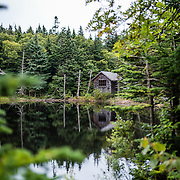 Cabin on the summit pond on Mount Greylock, MA