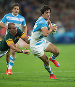 London, Great Britain,  Matias MORONI, move passed Ryan PIENAAR tackle, during the South Africa vs Argentina. 2015 Rugby World Cup, Bronze Medal Match.Queen Elizabeth Olympic Park. Stadium, Stratford. East London. England,, Friday  30/10/2015. <br /> [Mandatory Credit; Peter Spurrier/Intersport-images]