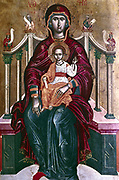 Virgin Enthroned, on her lap is the Christ Child, his hand held up in blessing. 1664.  Emmanuel Tzanes (1637-1694) Greek Renaissance painter (Cretan School), who worked in Venice.   Religion Christian Mother Halo