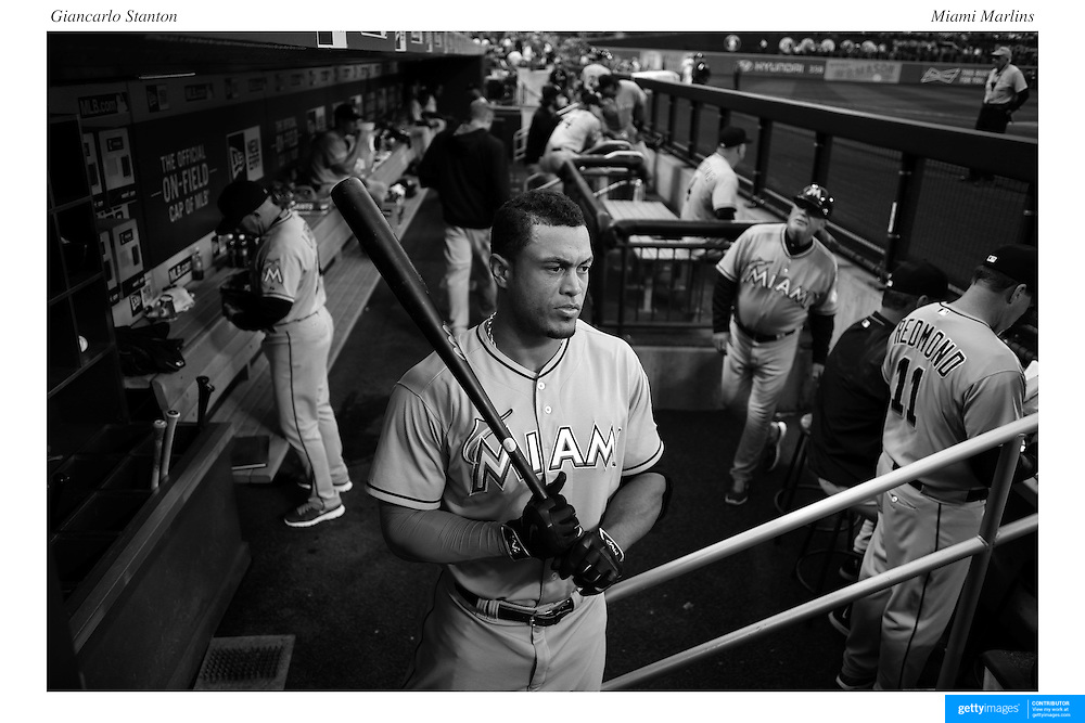 Giancarlo Stanton, Miami Marlins, preparing to bat during the New York Mets Vs Miami Marlins MLB regular season baseball game at Citi Field, Queens, New York. USA. 18th April 2015. Photo Tim Clayton