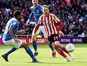 Aiden McGready gets the ball away during the EFL Sky Bet League 1 match between Sunderland and Portsmouth at the Stadium Of Light, Sunderland, England on 27 April 2019.