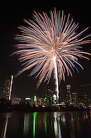 Fourth of July Fireworks over Lady Bird Lake, Austin, TX