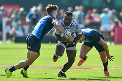 Jerry Tuwai of Fiji in action<br /> <br /> Photographer Craig Thomas/Replay Images<br /> <br /> World Rugby HSBC World Sevens Series - Day 2 - Friday 6rd December 2019 - Sevens Stadium - Dubai<br /> <br /> World Copyright © Replay Images . All rights reserved. info@replayimages.co.uk - http://replayimages.co.uk
