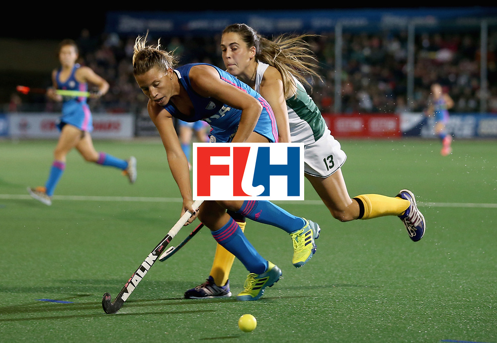JOHANNESBURG, SOUTH AFRICA - JULY 12: Delfina Merino of Argentina and Lisa-Marie Deetlefs of South Africa battle for possession during day 3 of the FIH Hockey World League Semi Finals Pool B match between South Africa and Argentina at Wits University on July 12, 2017 in Johannesburg, South Africa. (Photo by Jan Kruger/Getty Images for FIH)