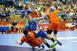Blaz Blagotinsek of Slovenia vs Evert Kooijman of Netherlands during handball match between National teams of Slovenia and Netherlands in Qualifications of 2020 Men's EHF EURO, on April 14, 2019, in Arena Zlatorog, Celje, Slovenia. Photo by Vid Ponikvar / Sportida