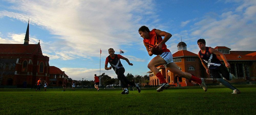 Scotch College football team in training for the 150th anniversary match of the first every game of Australian rules football  between Scotch College and Melbourne Grammar  Pic By Craig Sillitoe  31/07/2008 SPECIALX 000 melbourne photographers, commercial photographers, industrial photographers, corporate photographer, architectural photographers, This photograph can be used for non commercial uses with attribution. Credit: Craig Sillitoe Photography / http://www.csillitoe.com<br />