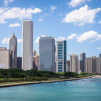 High resolution picture of Chicago skyline, Lake Michigan lakefront, and Crain Communications building (Smurfit-Stone Building), Trump Tower Building, One Prudential Plaza Building, Two Prudential Plaza Building, and Blue Cross Blue Shield building. Photo was taken in 2012.