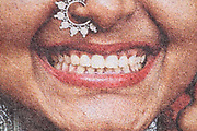 Indian woman big smile from color halftone print