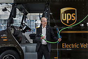 London, England, UK, September 6 2018 - Portrait of Peter Harris, Director of Sustainability at UPS Europe.<br /> A UPS led consortium with UK Power Networks Services and Cross River Partnership has deployed a new charging technology in London that overcomes the challenge of simultaneously recharging an entire fleet of electric vehicles (EVs) without the need for the expensive upgrade to the power supply grid. The technology, based on the use of onsite energy storage batteries, is now used to provide extra energy needed during peak hours, but it should also allow to increase the number of EVs operating from UPS central London site from the current limit of 65 to all 170 trucks based there.