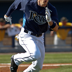 February 26, 2011; Port Charlotte, FL, USA; Tampa Bay Rays right fielder Brandon Guyer (30) during a spring training exhibition game Pittsburgh Pirates at Charlotte Sports Park.  Mandatory Credit: Derick E. Hingle
