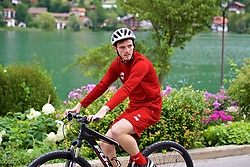 ROTTACH-EGERN, GERMANY - Thursday, July 27, 2017: Liverpool's Andy Robertson cycles back from training from the Seehotel Uberfahrt on the banks of Lake Tegernsee on day two of their preseason training camp in Germany. (Pic by David Rawcliffe/Propaganda)
