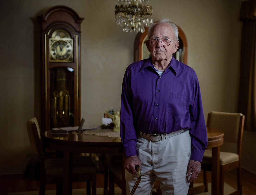 rer052517f/A1/May 25, 2017/Albuquerque Journal<br /> WWII Navy Veteran J.W. Herman(Cq), 93,  recently received medals he earned for his service. <br /> Roberto E. Rosales/Albuquerque Journal
