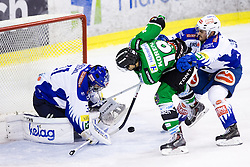 26.09.2014, Hala Tivoli, Ljubljana, SLO, EBEL, HDD Telemach Olimpija Ljubljana vs EC VSV, 5. Runde, in picture Gal Koren (HDD Telemach Olimpija, #19) vs Klemen Pretnar (EC VSV, #7) and Thomas Honeckl (EC VSV, #31) during the Erste Bank Icehockey League 5. Round between HDD Telemach Olimpija Ljubljana and EC VSV at the Hala Tivoli, Ljubljana, Slovenia on 2014/09/26. Photo by Matic Klansek Velej / Sportida