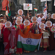 Modi supporters gather outside Westminster Abbey, Lonodn, UK