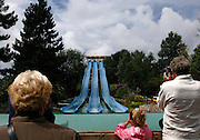 "Toboggan à ""Bagatelle"", le premier parc d'attractions construit en France, Merlimont, près du Touquet, Nord-Pas-de-Calais, France.<br /> An amusement park slide at ""Bagatelle"",  the first amusement park built in France, town of Merlimont, close to Le Touquet, Nord-Pas-de-Calais region, France."