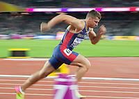 Athletics - 2017 IAAF London World Athletics Championships - Day Eight, Evening Session<br /> <br /> Mens Decathlon - 400m<br /> <br /> Mihail Dudas (Serbia) off of his blocks at the London Stadium<br /> <br /> COLORSPORT/DANIEL BEARHAM