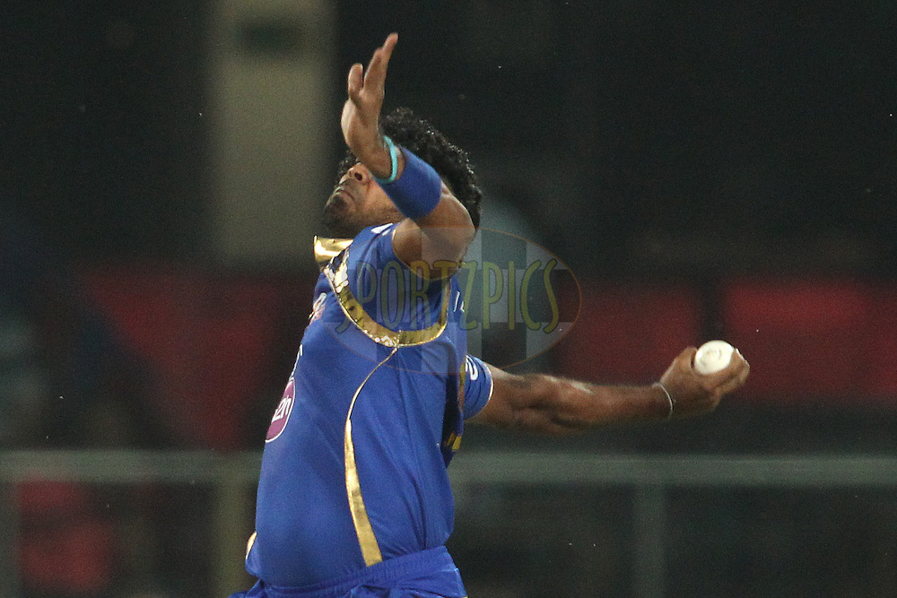 Lasith Malinga of Mumbai Indians sends down a delivery during match 21 of the Pepsi IPL 2015 (Indian Premier League) between The Delhi Daredevils and The Mumbai Indians held at the Ferozeshah Kotla stadium in Delhi, India on the 23rd April 2015.<br /> <br /> Photo by:  Shaun Roy / SPORTZPICS / IPL