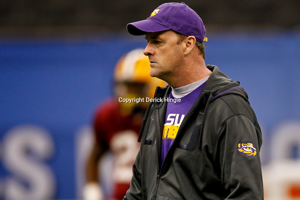 January 5, 2012; New Orleans, LA, USA; LSU Tigers quarterbacks coach Steve Kragthorpe during practice for the 2012 BCS National Championship game to be played on January 9, 2012 against the Alabama Crimson Tide at the Mercedes-Benz Superdome.  Mandatory Credit: Derick E. Hingle-US PRESSWIRE