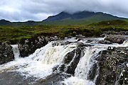 Sgurr nan Gillean, Cuillin, nr. Sligachan, Isle of Skye and waterfalls on the torrential Allt Dearg Mor, photographed after (and during!) heavy rain.<br />