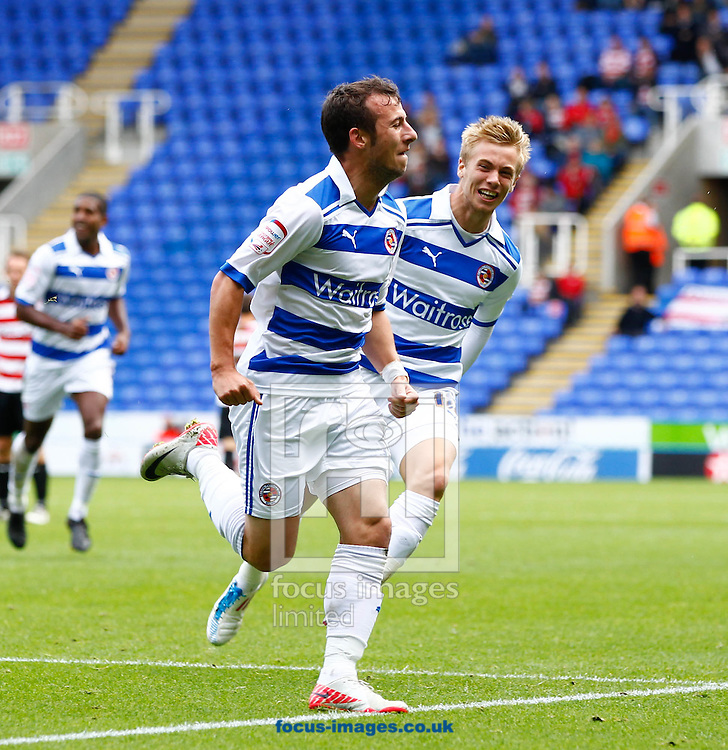Picture by Andrew Tobin/Focus Images Ltd. 07710 761829. .17/9/11. Adam Le Fondre (9) of Reading celebrates scoring their second goal and his first for Reading during the Npower Championship match at Madejski Stadium, Reading.