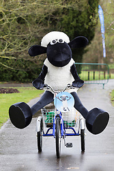 "© Licensed to London News Pictures. 26/03/2015. London, England. Pictured: Shaun the Sheep going for a bicycle ride at Kew Gardens. Kew Gardens' Easter Festival ""Shaun the Sheep"" opens at Kew Gardens on 28 March and runs to 12 April 2015.  Photo credit: Bettina Strenske/LNP"
