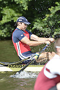 Henley, GREAT BRITAIN.  Diamond Challenge Sculls.  Graeme THOMAS GBR M1X., at the start of his Saturday heat.  2012 Henley Royal Regatta.  ..Saturday  11:19:45  30/06/2012. [Mandatory Credit, Peter Spurrier/Intersport-images]...Rowing Courses, Henley Reach, Henley, ENGLAND . HRR. . HRR.
