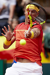 April 6, 2018 - Valencia, Valencia, Spain - Rafael Nadal of Spain in action in his match against Philipp Kohlschreiber of Germany during day one of the Davis Cup World Group Quarter Finals match between Spain and Germany at Plaza de Toros de Valencia on April 6, 2018 in Valencia, Spain  (Credit Image: © David Aliaga/NurPhoto via ZUMA Press)