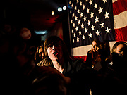 """31 DECEMBER 2019 - DES MOINES, IOWA: Bernie Sanders supporters dance a conga line during Sen. Bernie Sanders' """"Big New Year's Bash,"""" a combination campaign rally/New Years Eve Party at the Marriott Hotel Downtown in Des Moines. Sen. Sanders is in Iowa campaigning to be the Democratic presidential nominee in 2020. Iowa hosts the first selection event of the presidential election cycle. The Iowa Caucuses are Feb. 3, 2020.       PHOTO BY JACK KURTZ"""