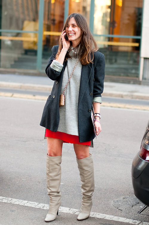 Red Miniskirt and Boots, Outside Alberta Ferretti