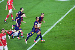 Alexis Sanchez runs away with the ball as after Lionel Messi equalisies for Barcelona during the Group G UEFA Champions League match between FC Barcelona and Spartak Moscow at the Nou Camp, Barcelona, Spain 19th September 2012. Credit - Eoin Mundow/Cleva Media.