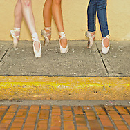 MR. Model relased photo. Professional ballerinas dressed up with street clothing but wearing ballet shoes.