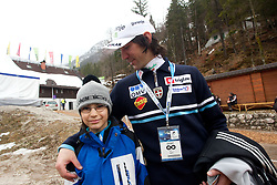 Primoz Peterka of Slovenia with his son Maj  finishes his career during  1st day of FIS Ski Jumping World Cup Finals Planica 2011, on March 17, 2011, Planica, Slovenia. (Photo by Vid Ponikvar / Sportida)