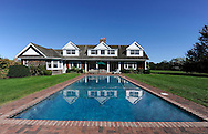 Bridgehampton, NY: Saturday, Oct. 8, 2010-- On Long Island's East End a Bridgehampton estate is reflected in the pool on the property.   © Audrey C. Tiernan