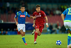 NAPLES, ITALY - Wednesday, October 3, 2018: Liverpool's Roberto Firmino (R) and Napoli's Allan Marques Loureiro during the UEFA Champions League Group C match between S.S.C. Napoli and Liverpool FC at Stadio San Paolo. (Pic by David Rawcliffe/Propaganda)
