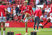 Joe Worrall (4) warms up during the EFL Sky Bet Championship match between Nottingham Forest and Birmingham City at the City Ground, Nottingham, England on 17 August 2019.