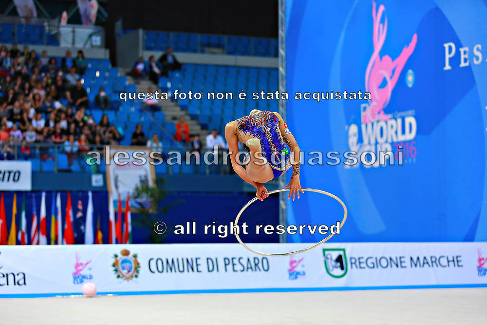 Margarita Mamun of Russia competes during the rhythmic gymnastics individual hoop qualification of the World Cup at Adriatic Arena on April 1, 2016 in Pesaro, Italy. Margarita was born 1 November 1995 in Moscow, she is a retired Russian individual rhythmic gymnast.<br /> In Rio Olympic games 2016 won the gold medal in All-around.