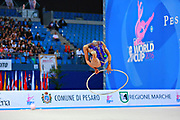 Margarita Mamun of Russia competes during the rhythmic gymnastics individual hoop qualification of the World Cup at Adriatic Arena on April 1, 2016 in Pesaro, Italy. Margarita was born 1 November 1995 in Moscow, she is a retired Russian individual rhythmic gymnast.<br />