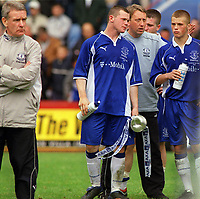Wayne Rooney (Everton) shows his dejection after receiving the Runners up trophy. FA Youth Cup Final 2002. Aston Villa v Everton 2nd leg. 18/5/2002. Credit : Colorsport / Andrew Cowie